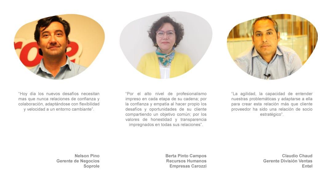 Testimonio Cliente outsourcing / Subcontratación  Nelson Pino Soprole, Claudio Chaud Entel y Berta Pinto Carozzi